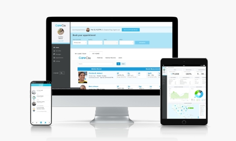 CareClix platform on desktop, tablet and mobile devices
