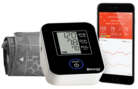 Blood pressure device screen matching the app on mobile phone