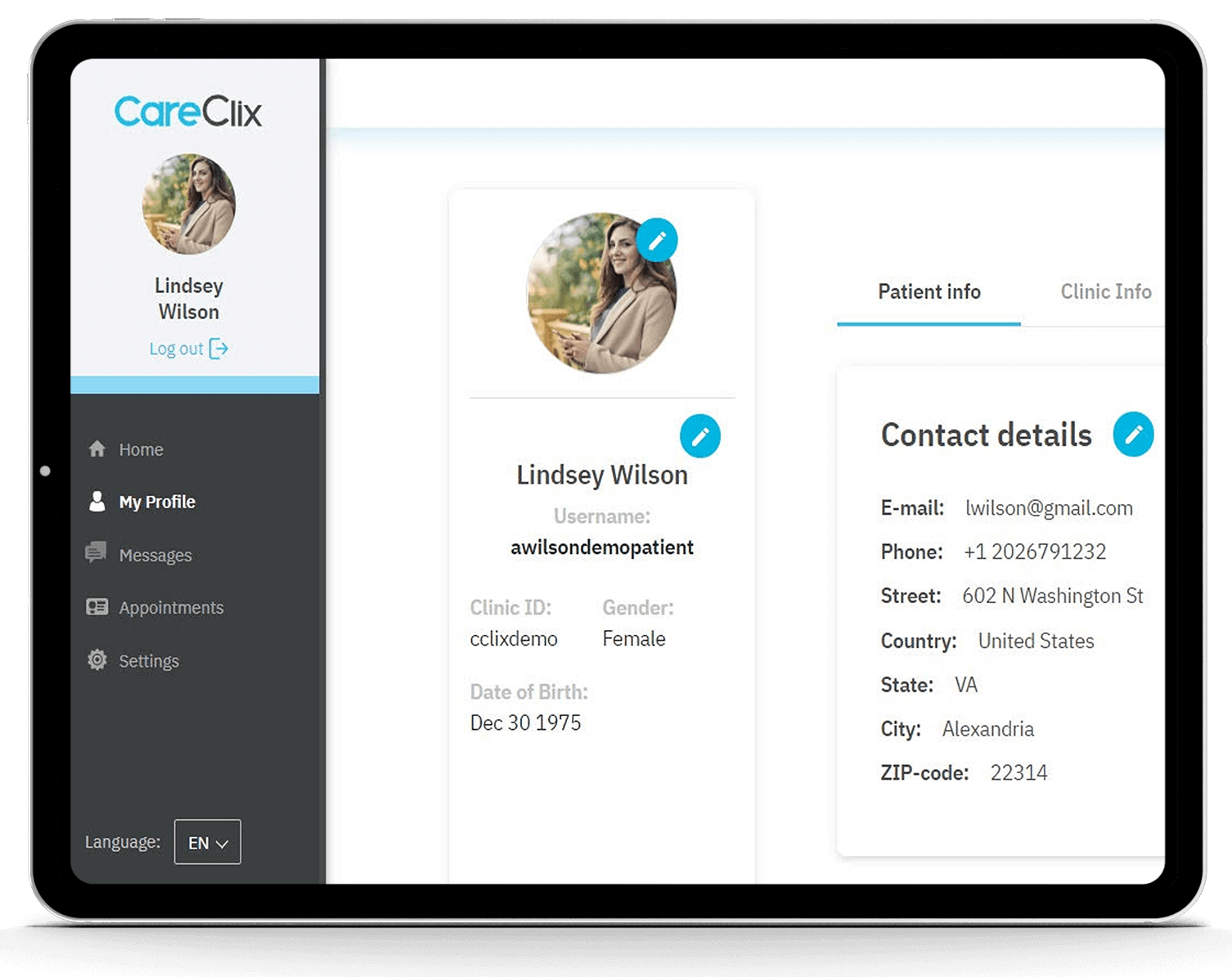 Contact Details screen on the CareClix app